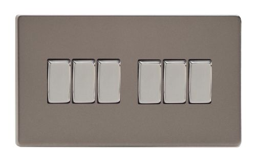 Varilight XDR96S Screwless Pewter 6 Gang 10A 1 or 2 Way Rocker Light Switch
